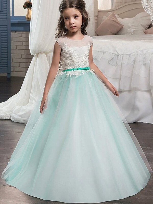 Ball Gown Jewel Sleeveless Floor-Length Tulle Sash/Ribbon/Belt Flower Girl Dresses
