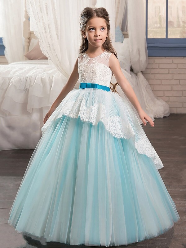 Ball Gown Sleeveless Jewel Sash/Ribbon/Belt Floor-Length Tulle Flower Girl Dresses