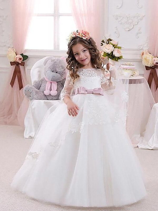 Ball Gown Floor-Length Jewel 1/2 Sleeves Lace Tulle Flower Girl Dresses