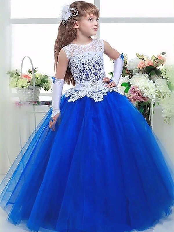 Ball Gown Sleeveless Lace Floor-Length Jewel Tulle Flower Girl Dresses