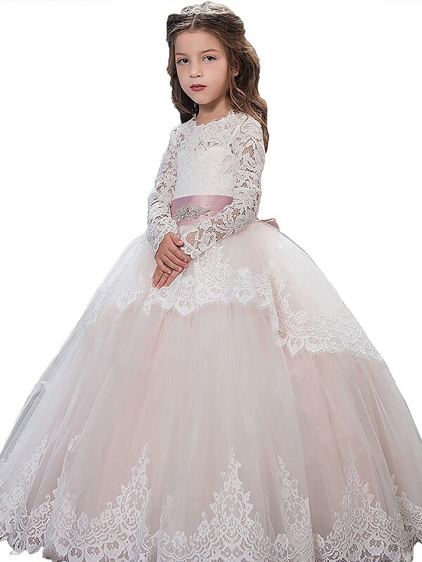 Ball Gown Jewel Long Sleeves Floor-Length Lace Tulle Flower Girl Dresses