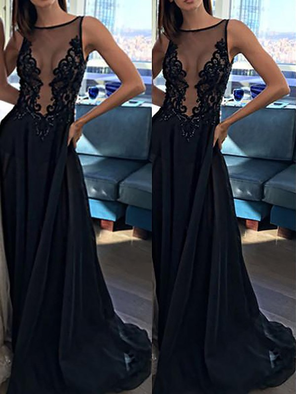 Sexy A-Line/Princess Sleeveless Chiffon Bateau Applique Sweep/Brush Train Dresses