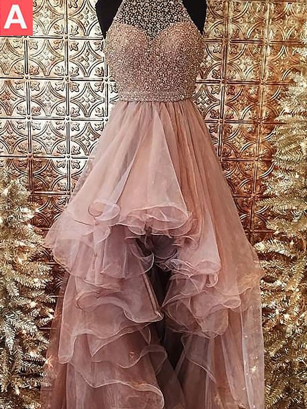 Ball Gown Halter Sleeveless Tulle Beading Sweep/Brush Train Dresses