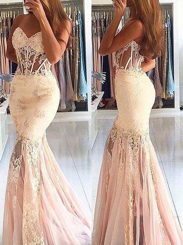 Trumpet/Mermaid Sweetheart Sleeveless Tulle Lace Sweep/Brush Train Dresses