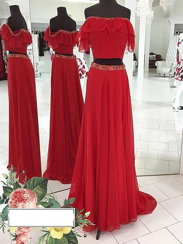 A-Line/Princess Off-the-Shoulder Sleeveless Chiffon Beading Floor-Length Two Piece Dresses