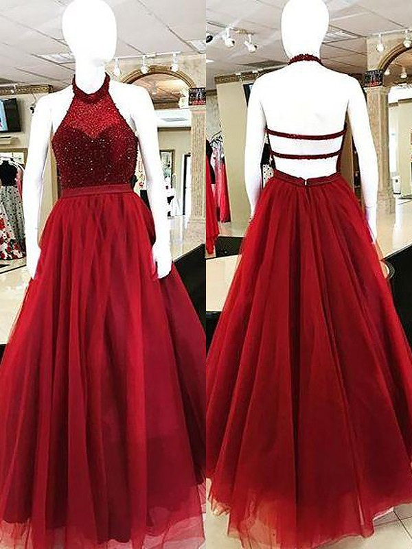Ball Gown Sleeveless Floor-Length Halter Beading Tulle Dresses