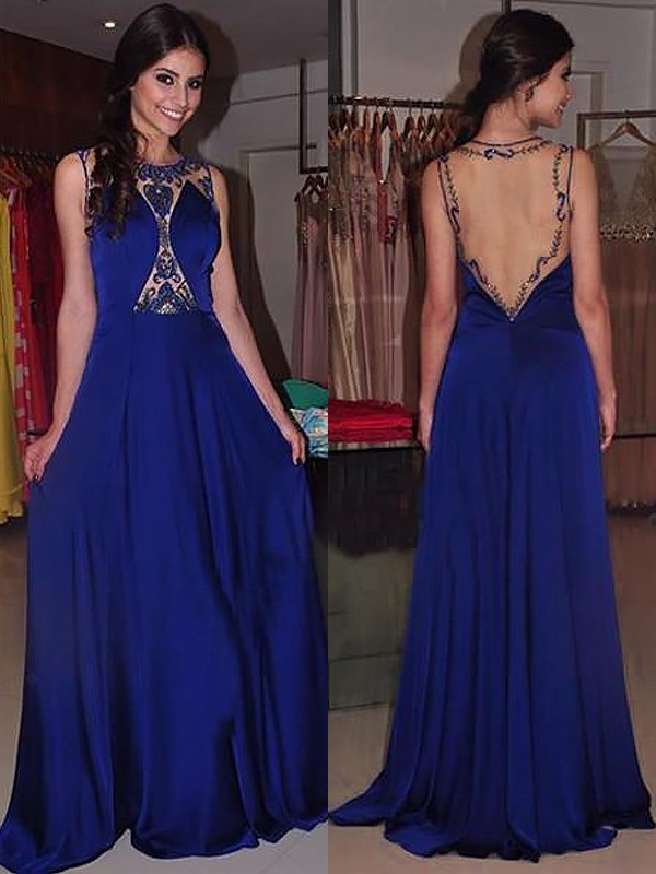 A-Line/Princess Sleeveless Bateau Sweep/Brush Train Beading Chiffon Dresses