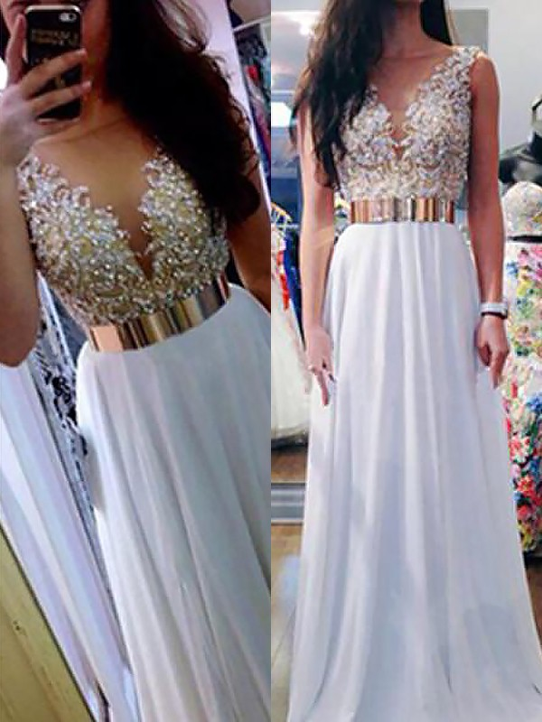 A-Line/Princess V-neck Floor-Length Beading Sleeveless Chiffon Dresses