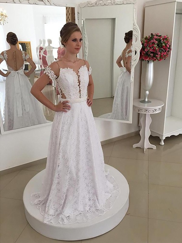 A-Line/Princess Scoop Short Sleeves Lace Sweep/Brush Train Wedding Dresses