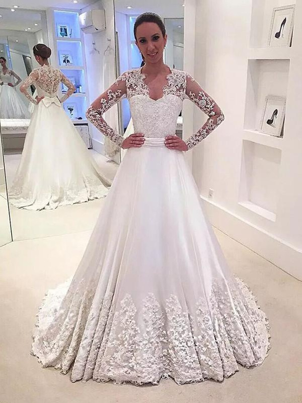A-Line/Princess V-neck Long Sleeves Satin Sweep/Brush Train Wedding Dresses