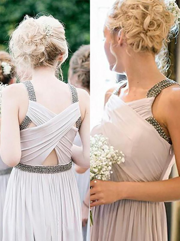 A-Line Straps Sleeveless Chiffon Floor-Length With Beading Bridesmaid Dresses