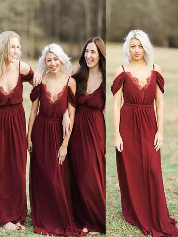 A-Line Spaghetti Straps Sleeveless Floor-Length Chiffon Lace Bridesmaid Dresses