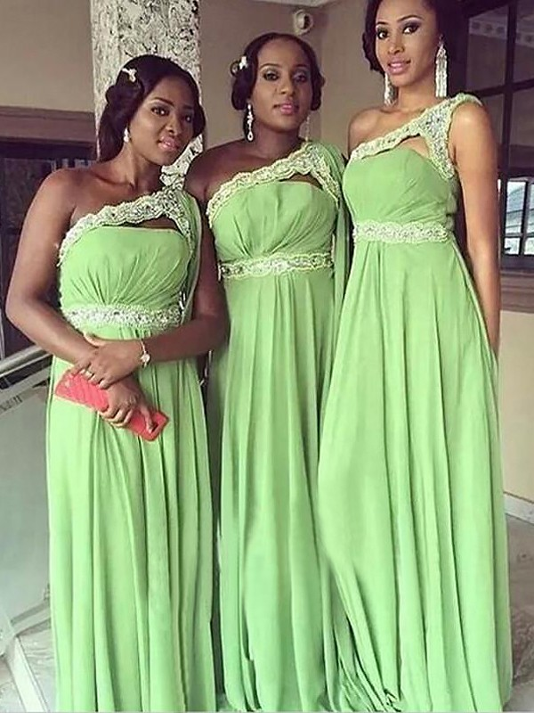 A-Line One-Shoulder Sleeveless Chiffon Floor-Length Bridesmaid Dresses