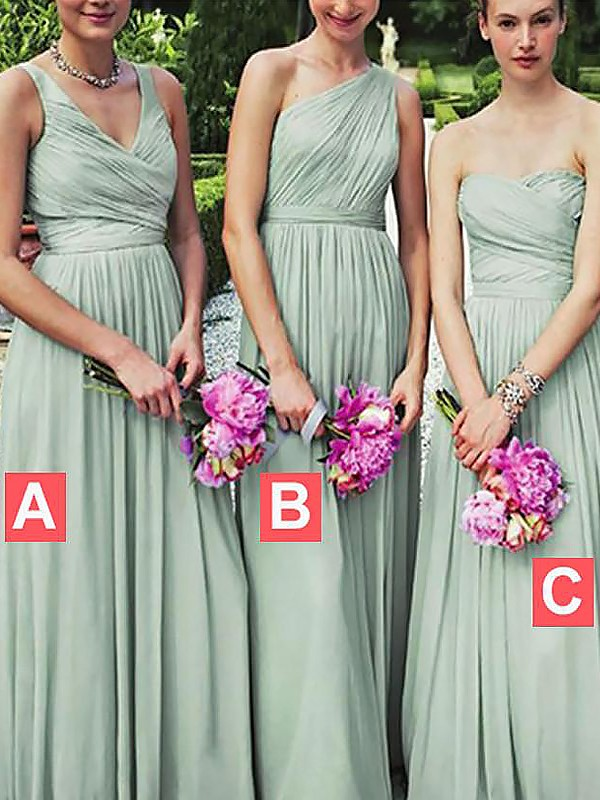 A-Line Floor-Length Sleeveless Chiffon Bridesmaid Dresses