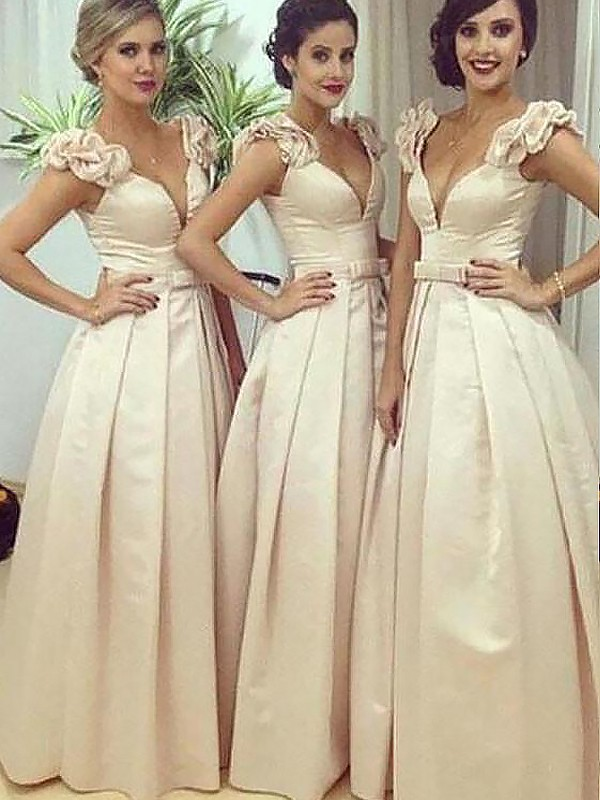 A-Line Floor-Length Sleeveless Straps Satin Bridesmaid Dresses