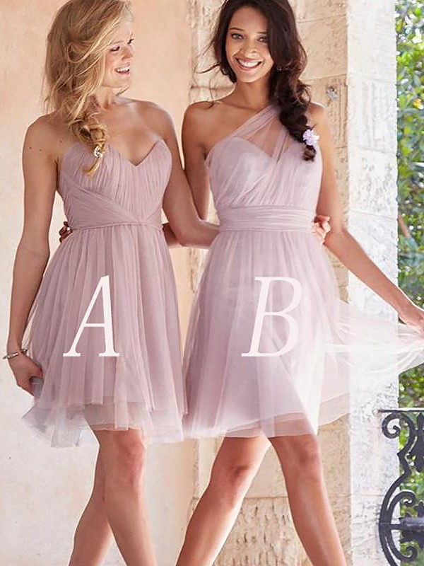 A-Line Sleeveless Short/Mini Tulle Bridesmaid Dresses