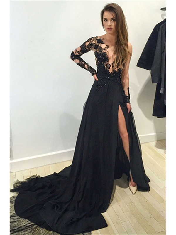A-Line/Princess Long Sleeves Lace Bateau Chiffon Court Train Dresses