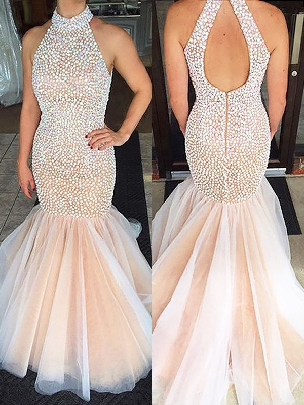 Mermaid Halter Sleeveless Beading Tulle Sweep/Brush Train Dresses