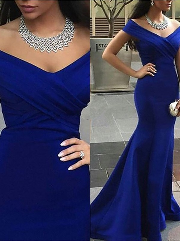 Trumpet Carmen Neckline Sleeveless Satin Sweep/Brush Train Dresses