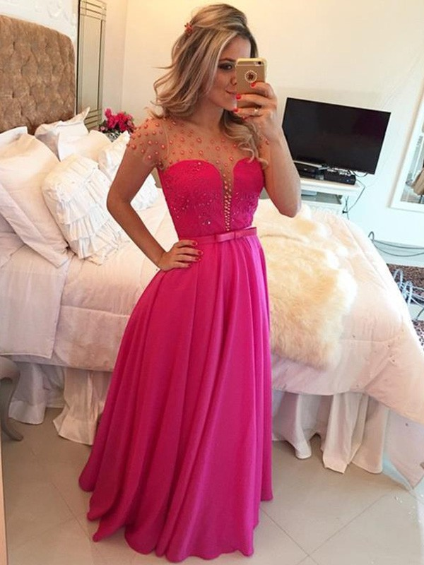 A-Line/Princess Scoop Short Sleeves Beading Floor-Length Chiffon Dresses