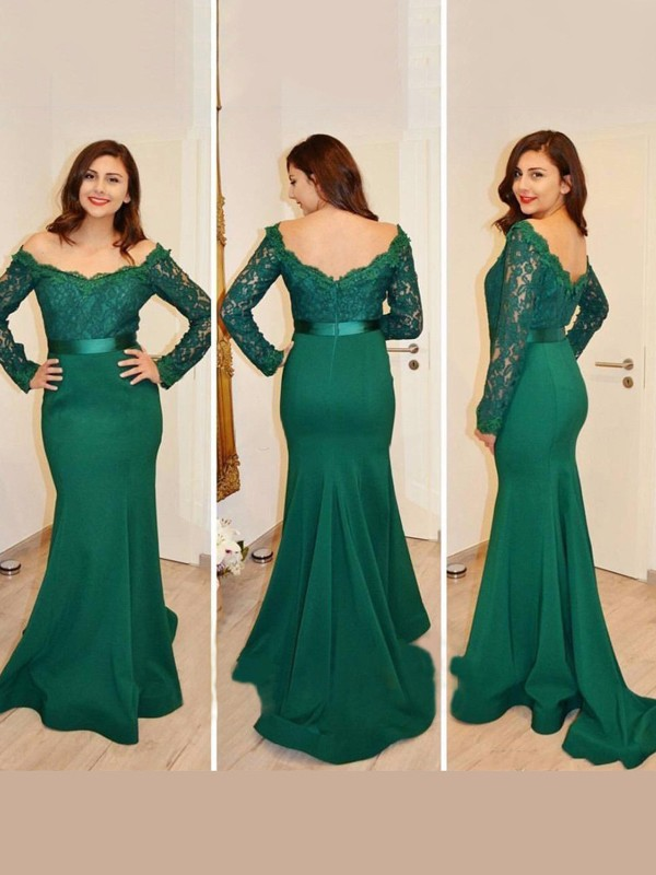 Trumpet/Mermaid Off-the-Shoulder Long Sleeves Applique Floor-Length Satin Dresses