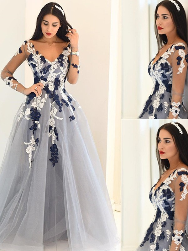 A-Line V-Neck Long Sleeves Applique Tulle Floor-Length Dresses