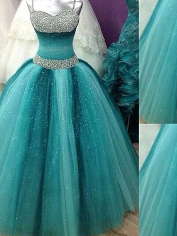 Ball Gown Spaghetti Straps Sleeveless Beading Tulle Floor-Length Dress