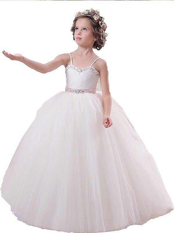 Ball Gown Sleeveless Floor-Length Spaghetti Straps Sash/Ribbon/Belt Tulle Flower Girl Dresses