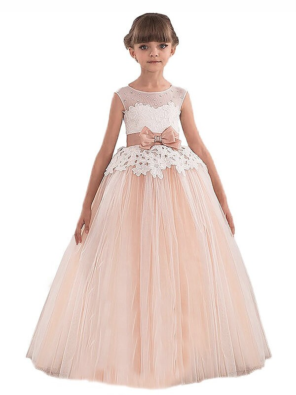 Ball Gown Sleeveless Scoop Sash/Ribbon/Belt Tulle Floor-Length Flower Girl Dresses