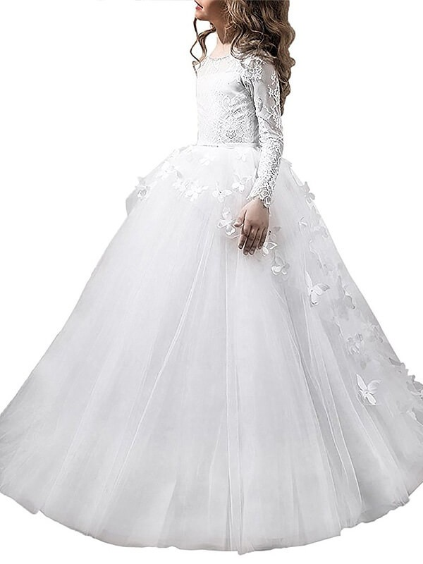 Ball Gown Scoop Floor-Length Tulle Long Sleeves Flower Girl Dresses