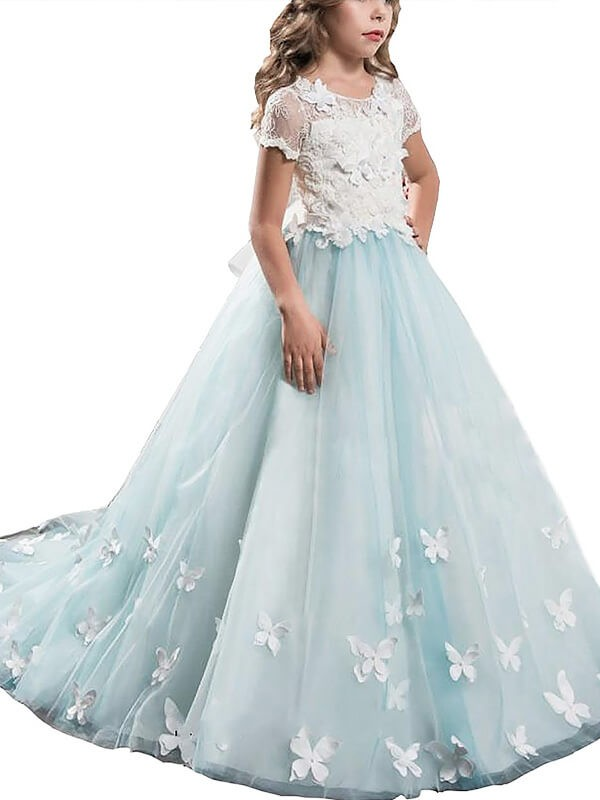 A-line/Princess Short Sleeves Scoop Lace Tulle Floor-Length Flower Girl Dresses