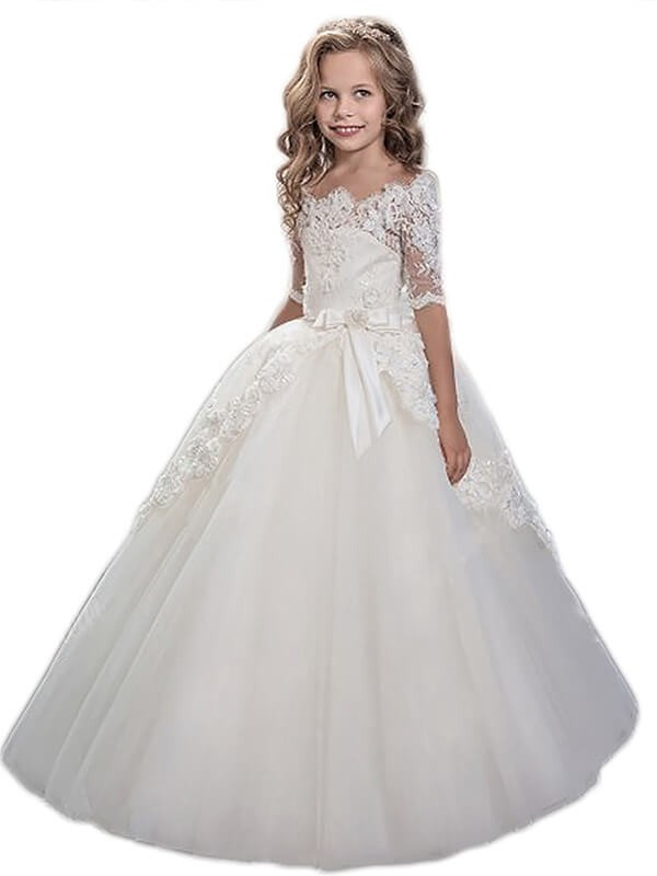 Ball Gown Short Sleeves Off-the-Shoulder Floor-Length Applique Tulle Flower Girl Dresses