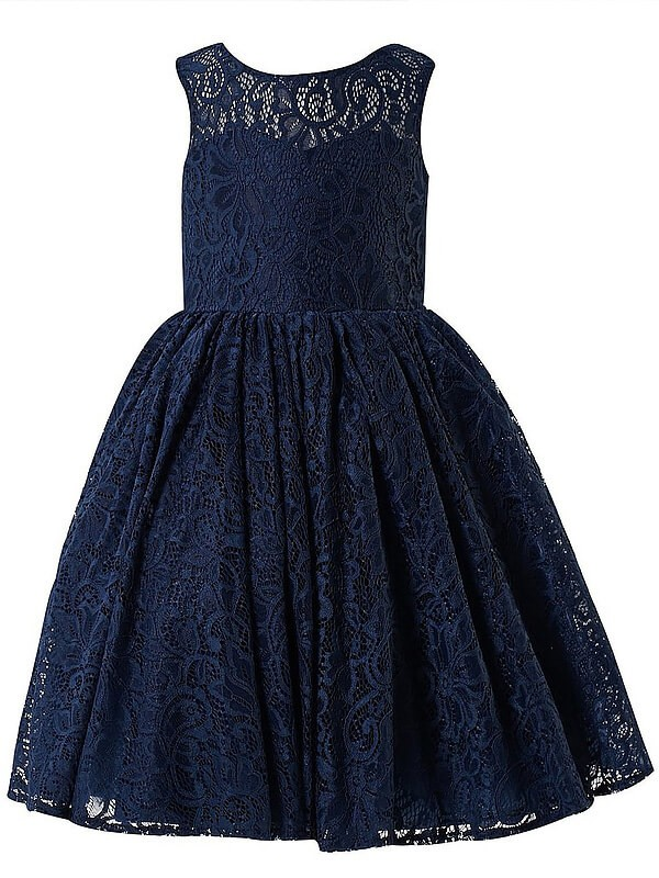 A-line/Princess Scoop Sleeveless Lace Tea-Length Flower Girl Dresses