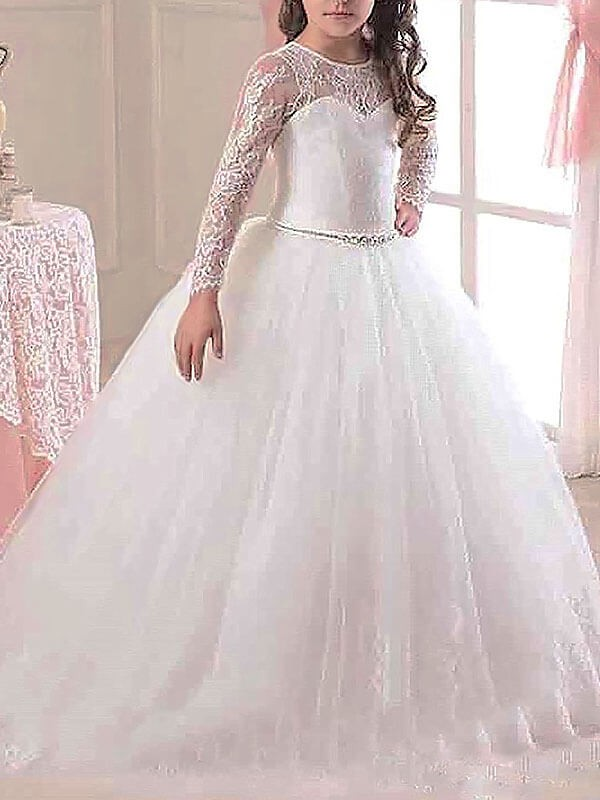 Ball Gown Scoop Long Sleeves Floor-Length Lace Tulle Flower Girl Dresses