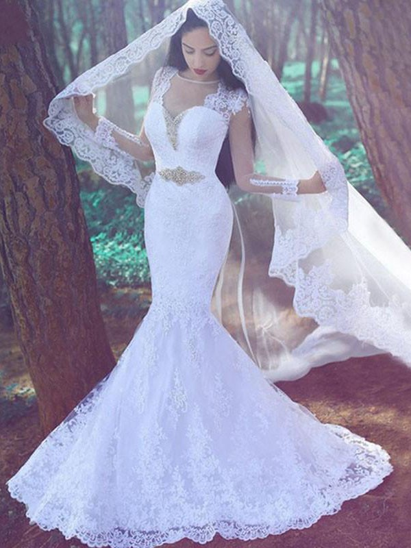 Trumpet/Mermaid Sweetheart Applique Long Sleeves Lace Court Train Wedding Dresses