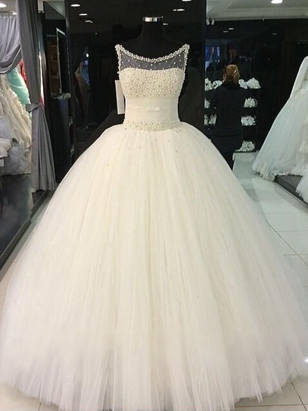 Ball Gown Scoop Tulle Sleeveless Floor-Length Beading Wedding Dresses