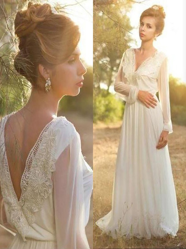 A-Line/Princess V-neck Chiffon Long Sleeves Lace Sweep/Brush Train Wedding Dresses