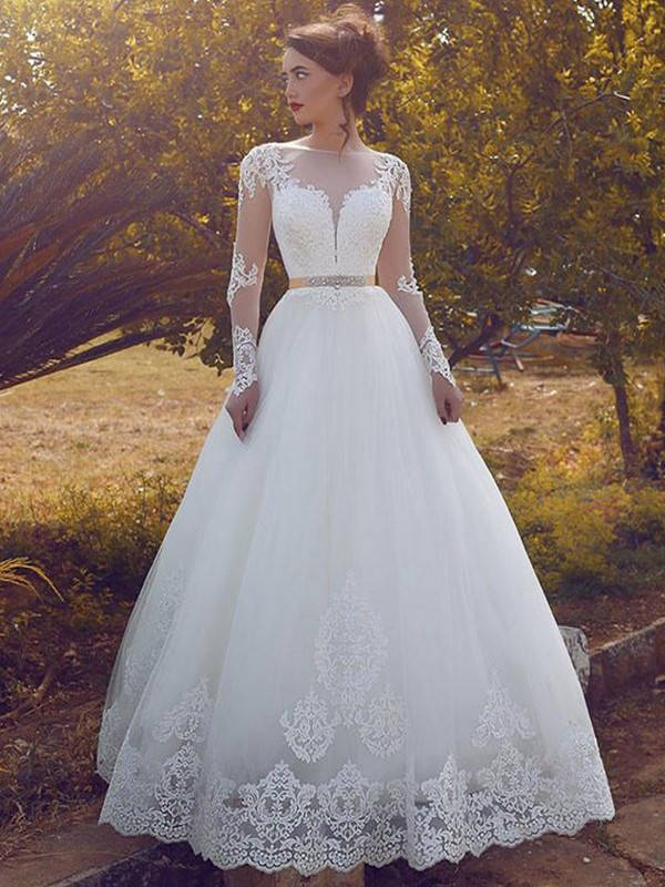 Ball Gown Long Sleeves Floor-Length Bateau Tulle Wedding Dresses