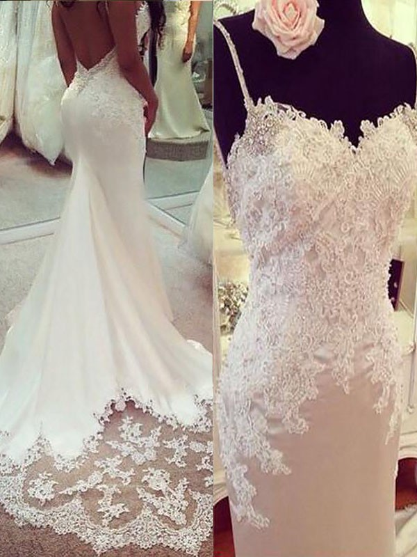 Trumpet/Mermaid Sleeveless Applique Satin Spaghetti Straps Court Train Wedding Dresses