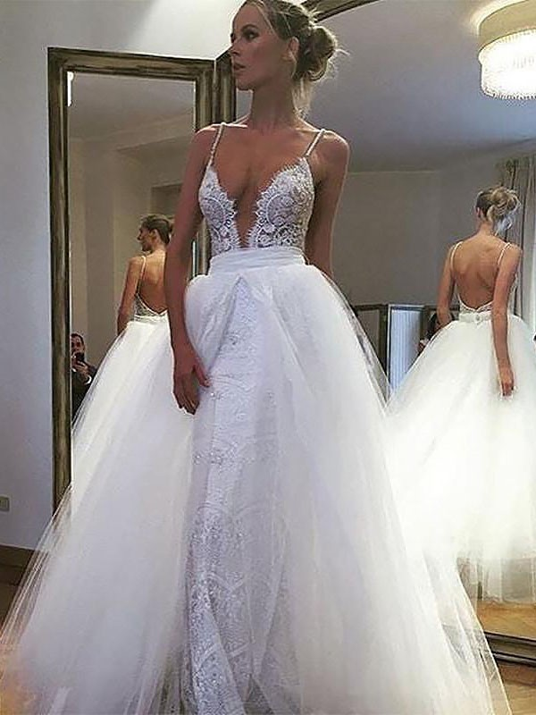 A-Line/Princess Sleeveless Floor-Length Tulle Lace Spaghetti Straps Wedding Dresses