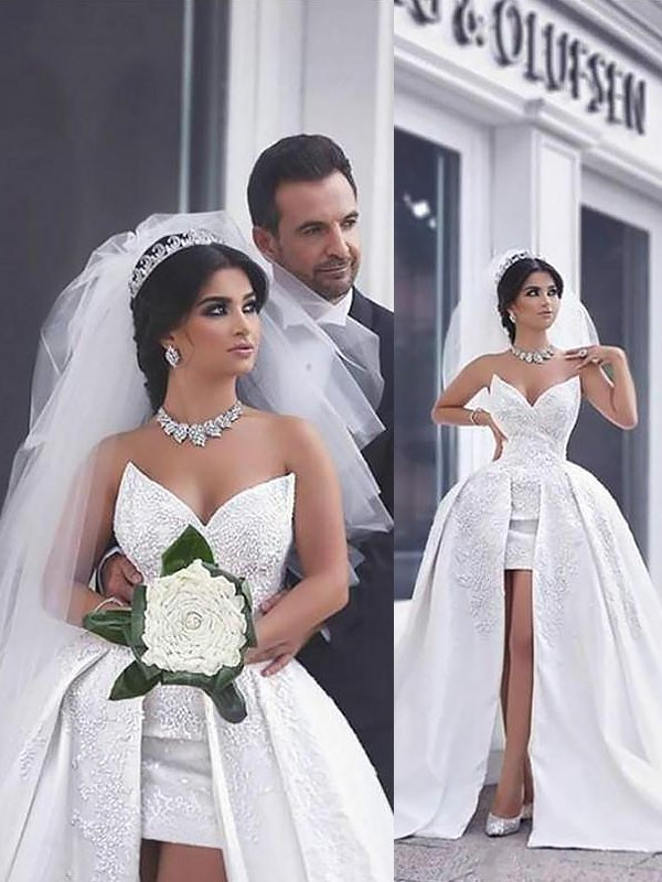 Ball Gown Sweetheart Beading Satin Sleeveless Chapel Train Wedding Dresses