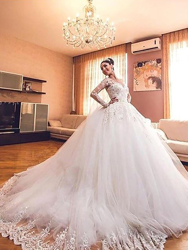 Ball Gown V-neck Long Sleeves Tulle Court Train Wedding Dresses