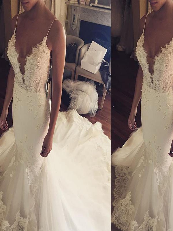 Trumpet/Mermaid Spaghetti Straps Court Train Lace Tulle Sleeveless Wedding Dresses