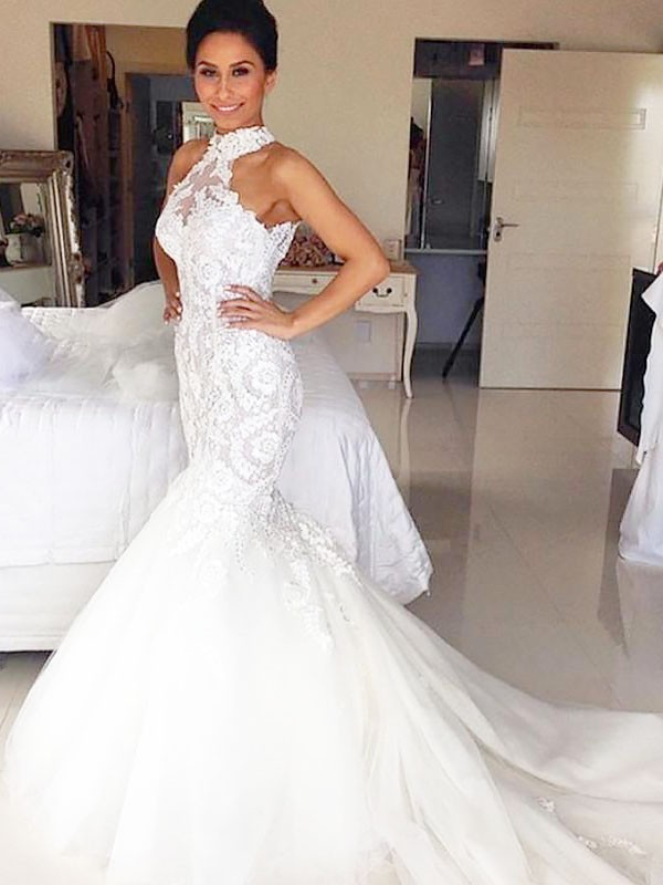 Trumpet/Mermaid Court Train Tulle Sleeveless Halter Wedding Dresses