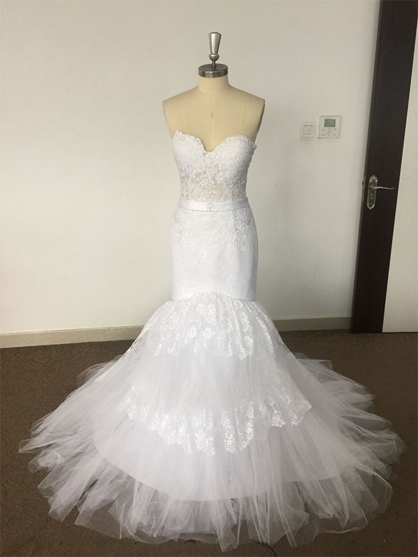 Court Train Trumpet/Mermaid Sleeveless Sweetheart Tulle Wedding Dresses