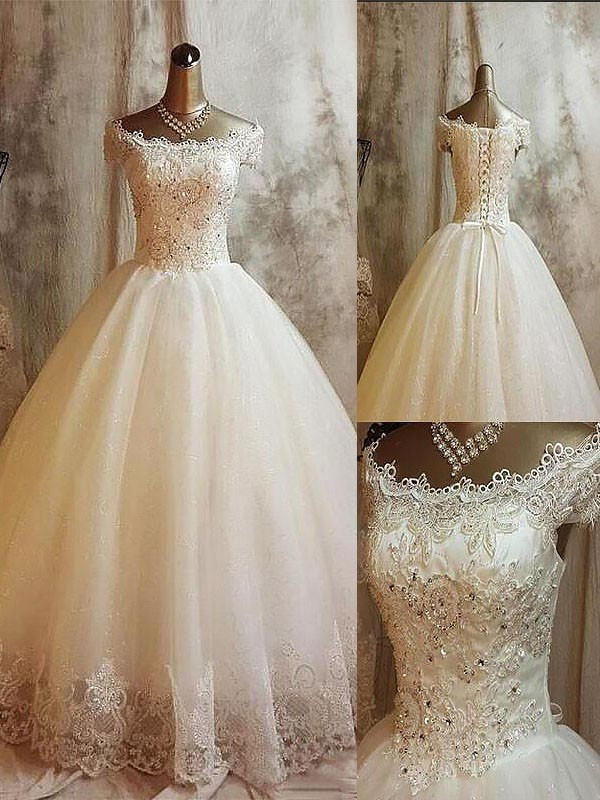 Ball Gown Off-the-Shoulder Sweep/Brush Train Applique Sleeveless Tulle Wedding Dresses