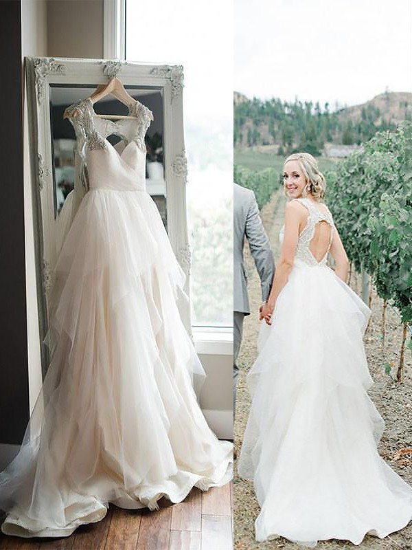 A-Line/Princess Sweep/Brush Train Straps Tulle Sleeveless Wedding Dresses