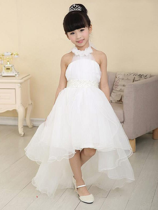 A-line/Princess High Neck Sleeveless High Low Organza Beading Flower Girl Dresses