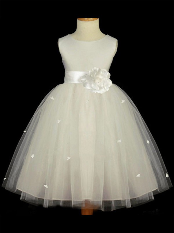 Ankle-Length A-Line/Princess Scoop Sleeveless Hand-Made Flower Tulle Flower Girl Dresses