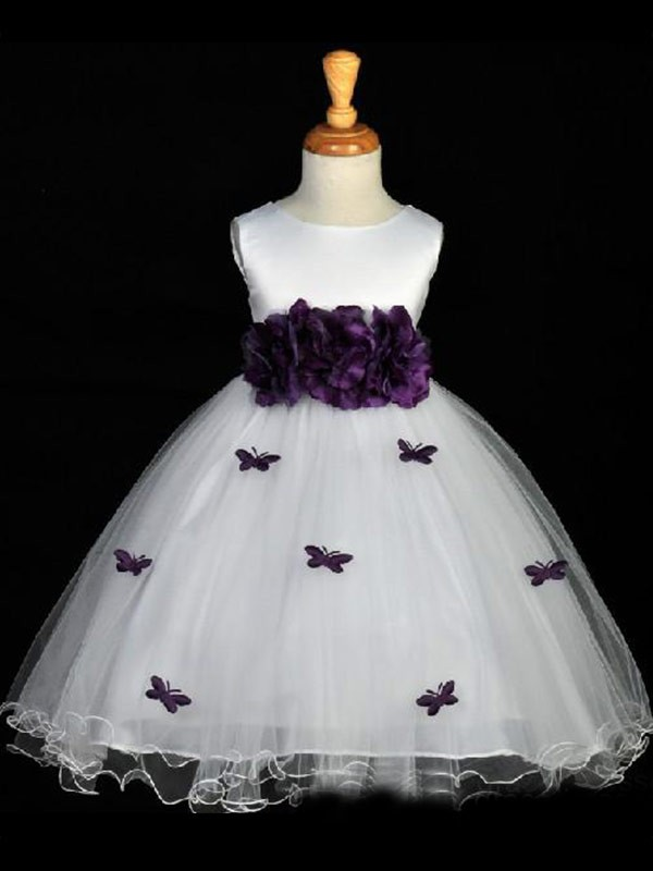 Ankle-Length A-Line/Princess Scoop Sleeveless Hand-Made Flower Organza Flower Girl Dresses